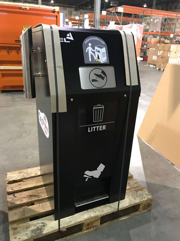 Exterior solar powered no touch compactor